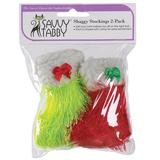 Savvy Tabby Shaggy Julsockor Kattleksak - 2-Pack